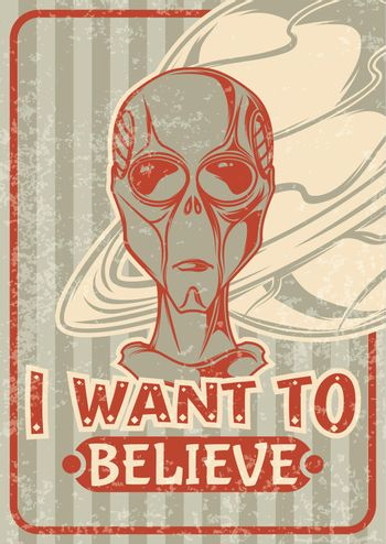 Vintage poster design with illustration of an alien and a retro pattern on background.