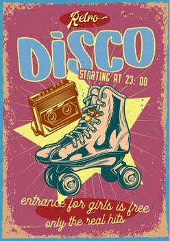 Poster design with illustration of roller-skates and a cassette on vintage background.