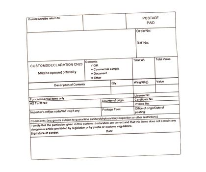 blank customs declaration label isolated over white