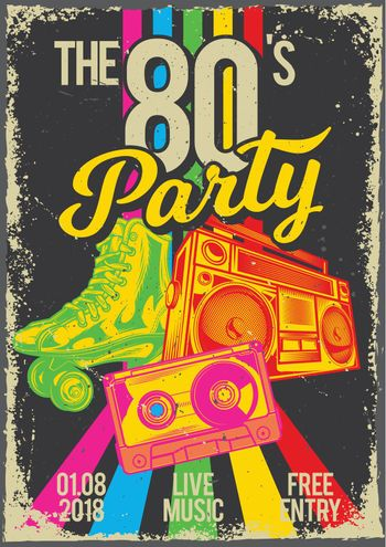 Poster design with illustration of roller-skaters, cassette and a radio on retro background.