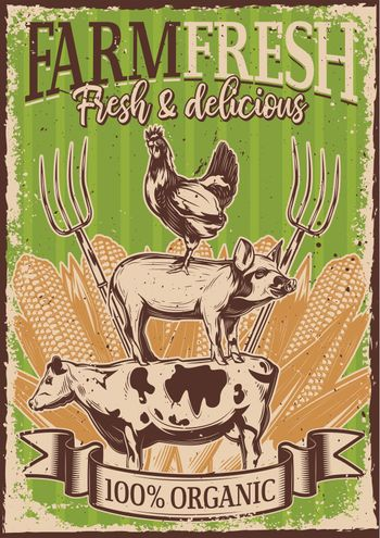 Poster design with illustration of livestock standing on each other on vintage background.