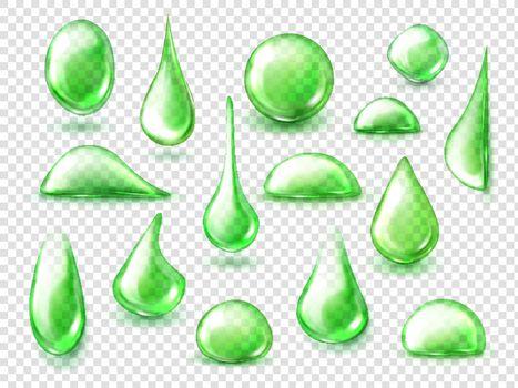 Green drops of water, herbal tea liquid drips
