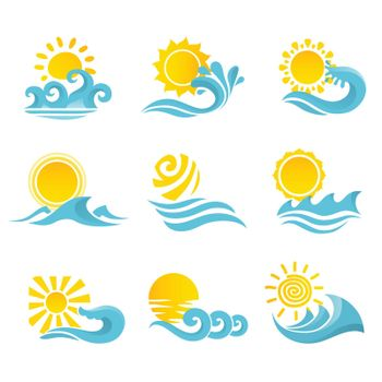 Waves Sun Icons Set