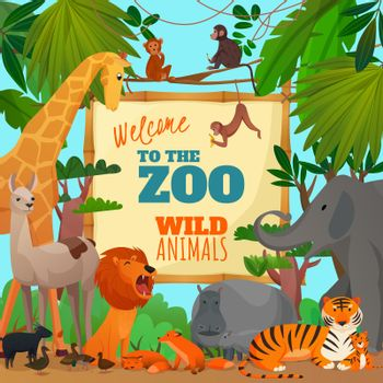 Welcome To Zoo Cartoon Poster