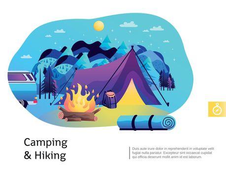 Camping Hiking Colorful Illustration