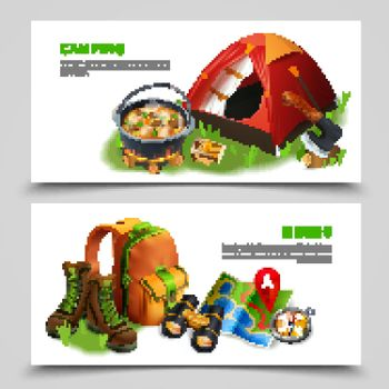 Camping Realistic Flyer Set