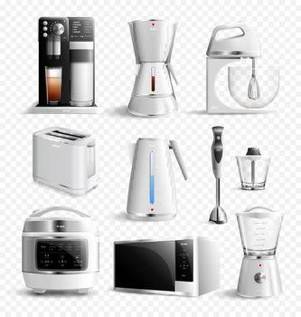 White Household Kitchen Appliances Transparent Icon Set