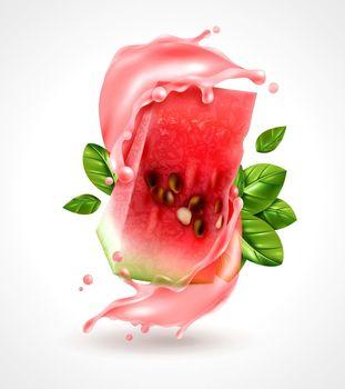 Watermelon Splash Realistic Composition