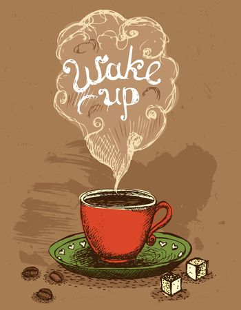 Wake up coffee cup