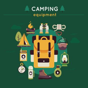 Camping Colored Composition