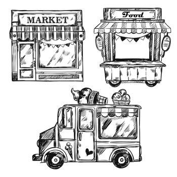 Vintage Shop Facade Icon Set
