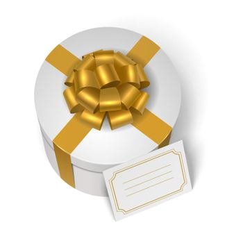 Wedding present box with yellow ribbon and bow