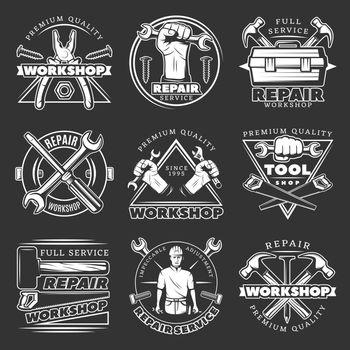 White Repair Workshop Logo Set