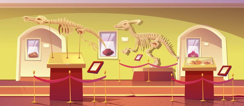 Museum of history with dinosaur skeleton artifacts