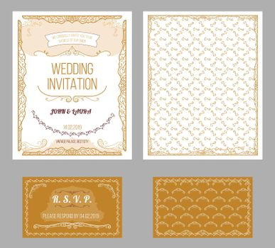 Vintage Wedding Invitation Cards Set