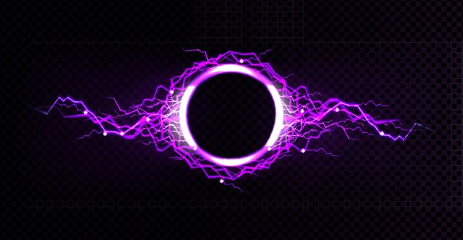 Electric circle frame with lightning discharge