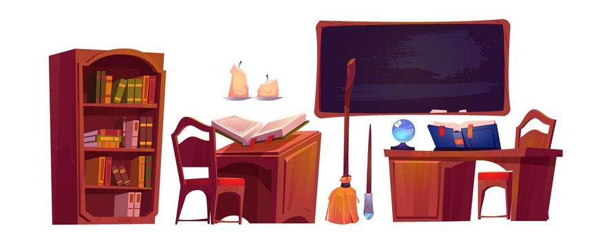 Magic school interior with open book of spell