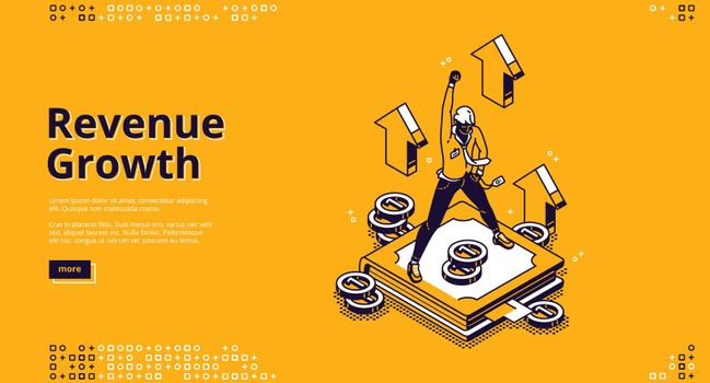 Revenue growth isometric landing page high expense