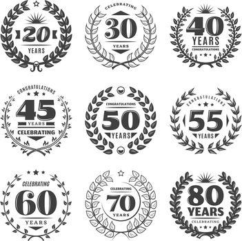 Vintage Monochrome Anniversary Labels Set