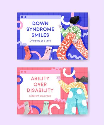 Facebook template with world down syndrome day concept design for social media and community watercolor illustration