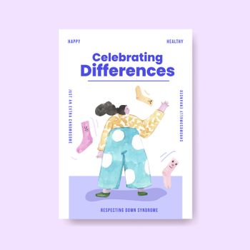 Poster template with world down syndrome day concept design for advertise and marketing watercolor illustration