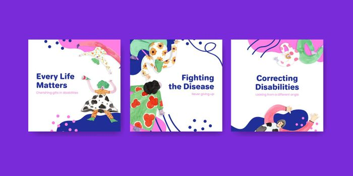 Advertise template with world down syndrome day concept design for marketing watercolor illustration
