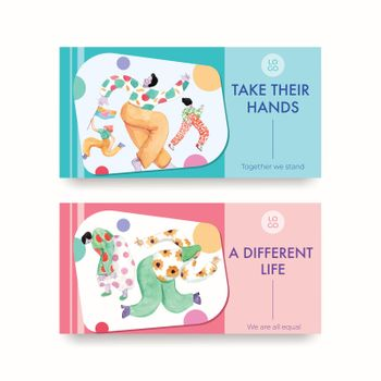 Twitter template with world down syndrome day concept design for social media and community watercolor illustration
