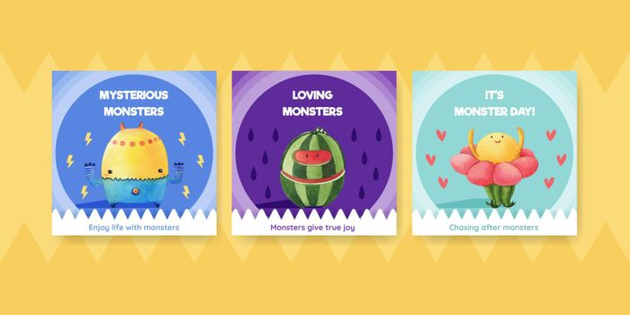 Advertise template with monster concept design watercolor illustration