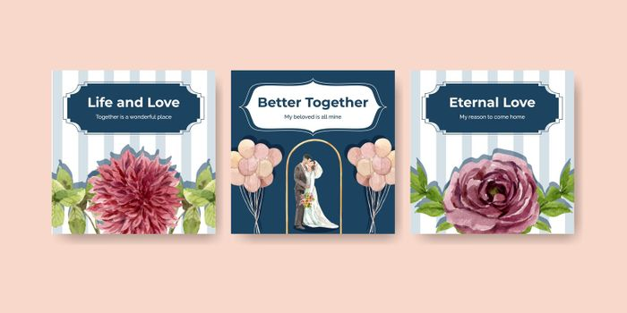 Advertise with wedding ceremony concept design watercolor illustration