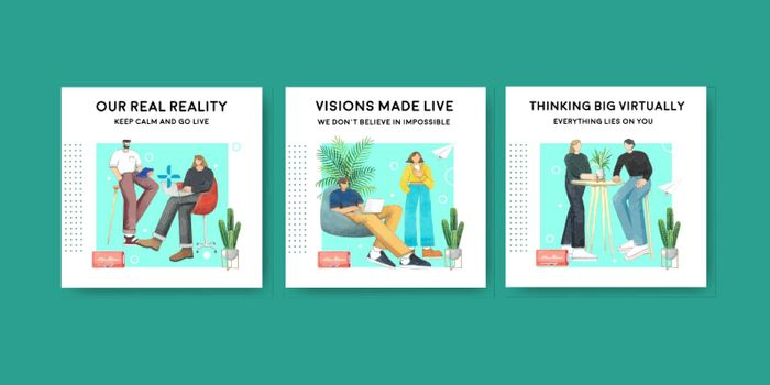 Banner template with live conversation concept ,watercolor style