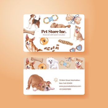 Name card template with cute dog concept,watercolor style