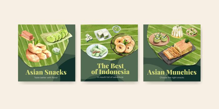Advertise template with Indonesian snack concept watercolor illustration