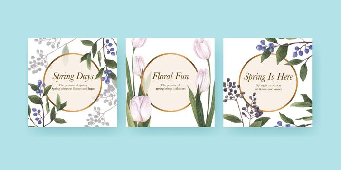 Banner template with spring flower concept,watercolor style