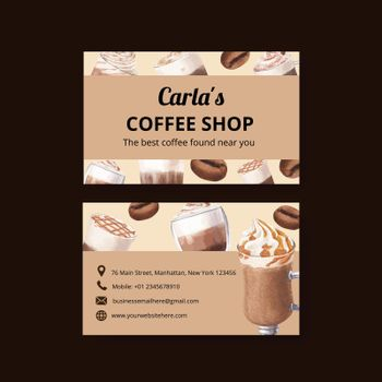 Name card template with coffee concept watercolor illustration