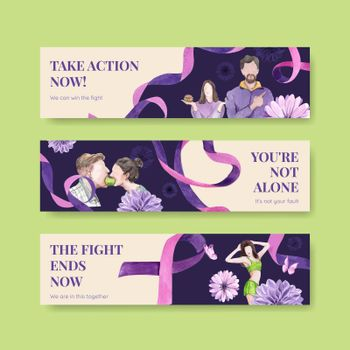 Banner template World Eating Disorders Action Day concept,watercolor style
