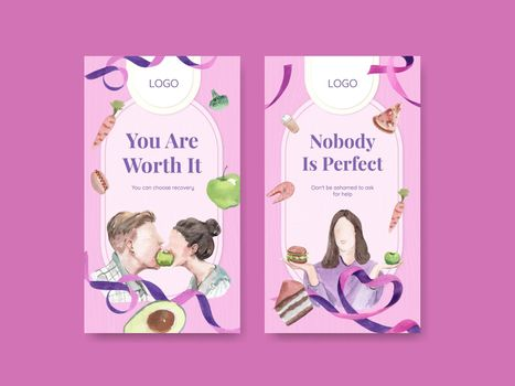 Instagram template World Eating Disorders Action Day concept,watercolor style