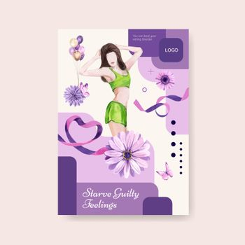 Poster template World Eating Disorders Action Day concept,watercolor style