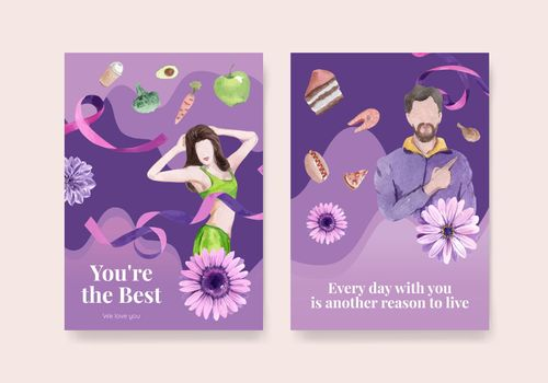 Card template World Eating Disorders Action Day concept,watercolor style