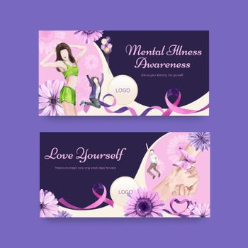 Twitter template World Eating Disorders Action Day concept,watercolor style
