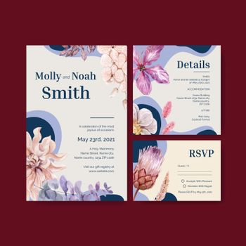 Wedding card template with happiness wedding concept,watercolor style