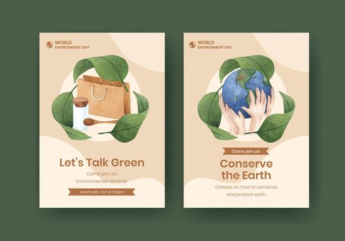 Card template with World Environment Day concept,watercolor style