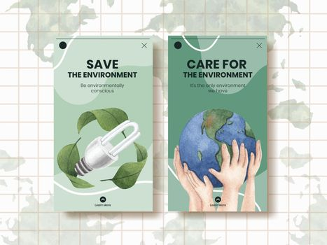 Instagram template with World Environment Day concept,watercolor style