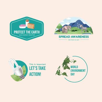 Logo design with World Environment Day concept,watercolor style