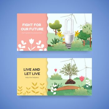 Twitter template with World Environment Day concept,watercolor style