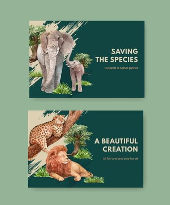 Facebook template with biodiversity as natural wildlife species or fauna protection concept,watercolor style