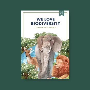 Poster template with biodiversity as natural wildlife species or fauna protection concept,watercolor style