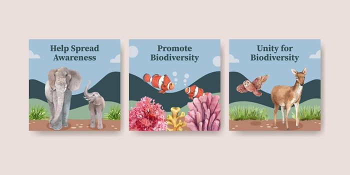 Banner template with biodiversity as natural wildlife species or fauna protection concept,watercolor style