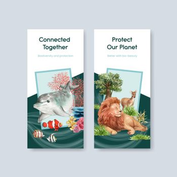 Flyer template with biodiversity as natural wildlife species or fauna protection concept,watercolor style