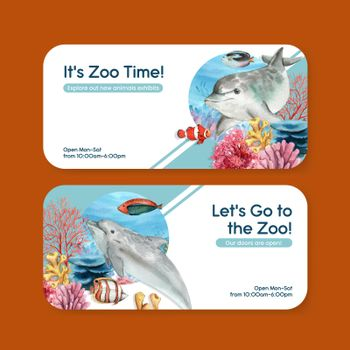 Ticket template with biodiversity as natural wildlife species or fauna protection concept,watercolor style