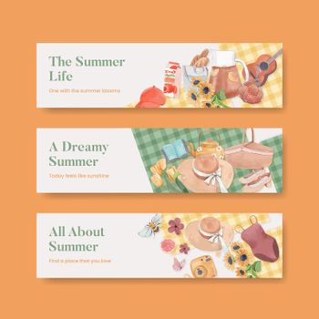 banner template with summer cottagecore concept,watercolor style